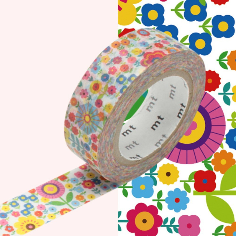 masking tape mt ex motif liberty fleurs multicolores 15 mm x 10 m aylia. Black Bedroom Furniture Sets. Home Design Ideas