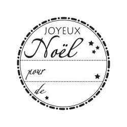 "Tampon bois rond stempel de Rayher ""Joyeux Noël"""