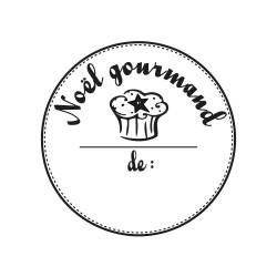 """Tampon bois rond stempel de Rayher """"Noël Gourmand"""""""