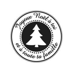 "Tampon bois rond stempel de Rayher ""Joyeux Noël à toi"""