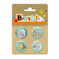 Set de 4 badges autocollants collection Basik & Ko No.1 de Scrapberry's