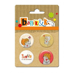 Set de 4 badges autocollants collection Basik & Ko No.2 de Scrapberry's