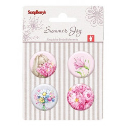 Set de 4 badges autocollants collection Summer Joy No. 2 de Scrapberry's