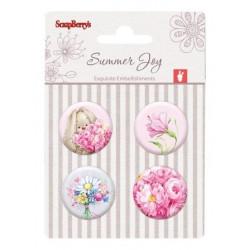 Set de 4 badges autocollants collection Summer Joy No. 2 de Scrapberry's