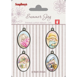 Set de 4 badges métal autocollants collection Summer Joy No. 1 de Scrapberry's