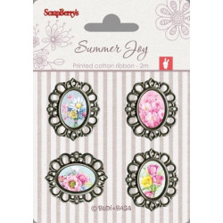Set de 4 badges métal autocollants collection Summer Joy No. 3 de Scrapberry's