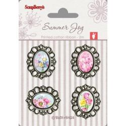 Set de 4 badges métal autocollants collection Summer Joy No. 3 de Scrapberry's