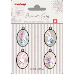 Set de 4 badges métal autocollants collection Summer Joy No. 4 de Scrapberry's