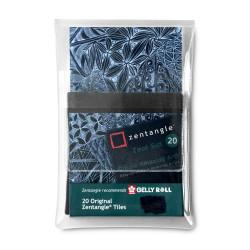 Set 20 cartes de Zentangle noires (89x89 mm)