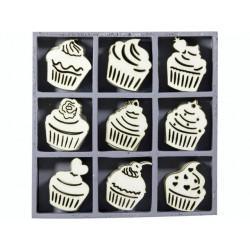 """Boîte bois ornement """"Cupcakes"""" ( 45 pièces) de Knorr Prandell"""