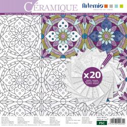 """Bloc de papier à colorier Color Therapy """"Céramique"""" d'Artemio (30x30 cm)"""