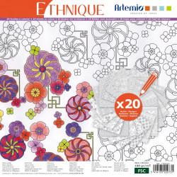 """Bloc de papier à colorier Color Therapy """"Ethnique"""" d'Artemio (30x30 cm)"""