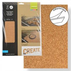 Paquet de 3 feuilles de liége adhésives naturel A4 de Vaessen Creative