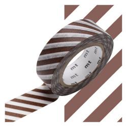 Masking Tape  MT 1P Motif rayures amande / stripe almond (15 mm x10 m)