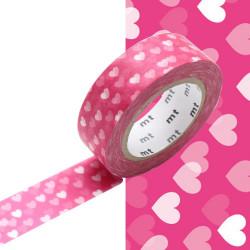 Masking Tape MT 1P Motif nuée de cœurs rose / heart spot (15 mm x10 m)