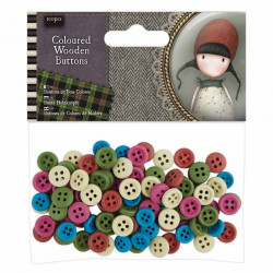 "Assortiments de 100 boutons bois ""Santoro - Gorjuss' Santoro Tweed"" de Docrafts"