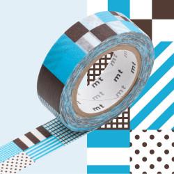 Masking Tape MT 1P Motif rayé carré mix blue (15 mm x10 m)