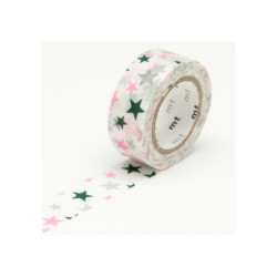 Masking Tape MT KIDS Motif Multicolore star (15 mm x 7 m)
