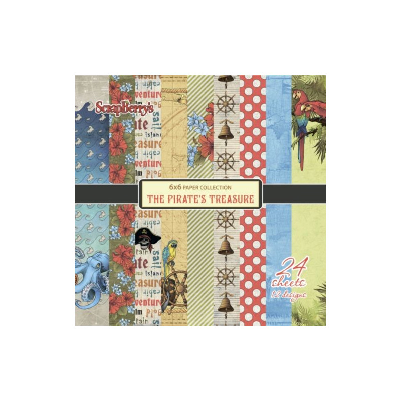 "Set de 24 feuilles de papier scrapbooking 15x15 cm  /""The Pirate/'s Treasure/"" de S"