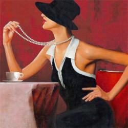 Femme collier de perles- 40x40