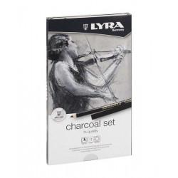 Lyra Charcoal Set (Set de fusains naturels, charbon de bois en stick + accessoires  -11 pcs)