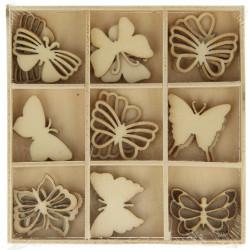 """Boîte bois ornement """"Papillons"""" (27 pièces) d'Artemio"""