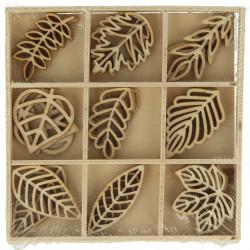 """Boîte bois ornement """"feuilles"""" (27 pièces) d'Artemio"""