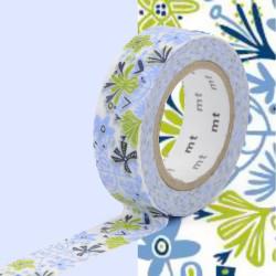 Masking Tape MT B&L Motif fleurs bleu / alma blue (15 mm x 10 m)