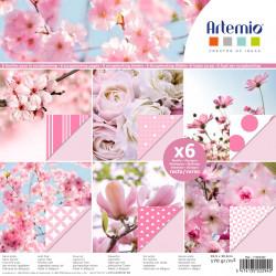 """Bloc de 6 feuilles photo recto verso 30x30 cm """"photos florales"""" d'Artemio"""