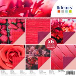 """Bloc de 6 feuilles photo recto verso 30x30 cm """"photos rouge"""" d'Artemio"""