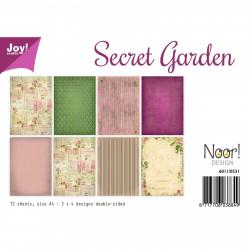 """Set de 12 feuilles photo recto-verso A4 """"secret garden"""" de Joy!Crafts"""