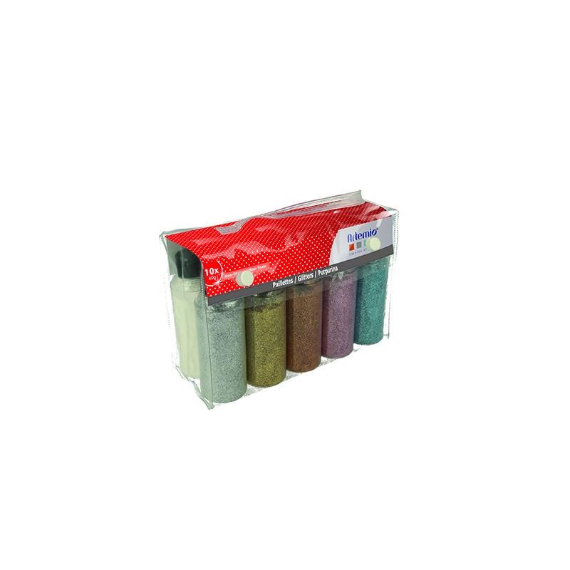 Kit de 10 poudres paillettées extra fines x 40 g d'Artemio