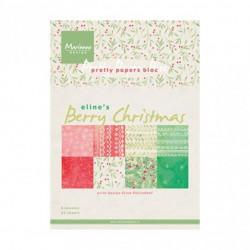 """Set de 32 feuilles de papier scrapbooking 21x15 cm  """"berry christmas"""" de Marianne Design"""