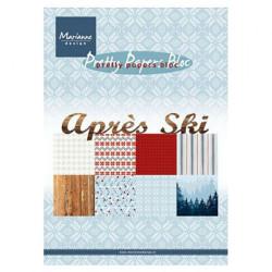 """Set de 32 feuilles de papier scrapbooking 21x15 cm  """"Après ski"""" de Marianne Design"""