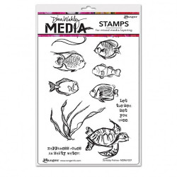 "Set de tampons Ranger Dina Wakley media ""scribbly fishies"" de Ranger"