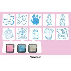 """Set  de 10 tampons """"Naissance"""" + 3 encreurs : argent, rose et bleu"""