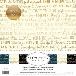 """Set Papier 30x30 """"Love Story Gold Foil"""" de Carta Bella"""