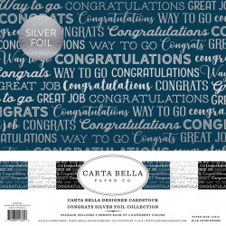 """Set Papier 30x30 """"Congrats Silver Foil """" de Carta Bella"""