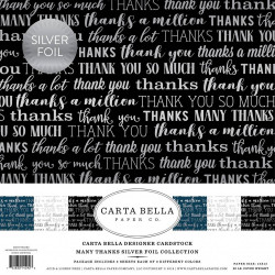 "Set Papier 30x30 ""Many Thanks Silver Foil"" de Carta Bella"