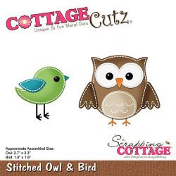 Die Cottage Cutz Stitched Owl & Bird de Scrapping Cottage