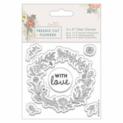 "Set de tampons transparents ""Papermania Freshly Cut Flowers-Floral Wreath"" de Docrafts"
