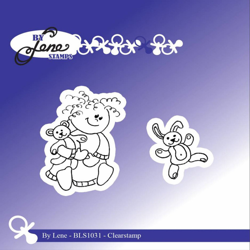 "Set de tampons transparents ""Girl with Teddybear "" de By Lene Stamps"