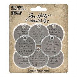 "Set d'embellissement ""quote tokens Idea-ology Tim Holtz"" de Ranger (8pcs)"