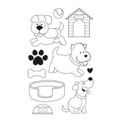 """Set de tampons transparents """"family friends chiens"""" d'Artemio"""