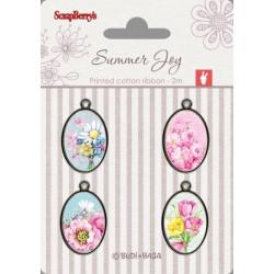 Set de 4 badges métal autocollants collection Summer Joy No. 2 de Scrapberry's
