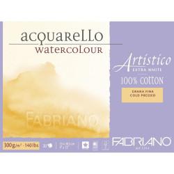 Bloc Papier aquarelle Artistico Extra blanc (23x30,5 cm) - Grain fin de Fabriano (20 feuilles)