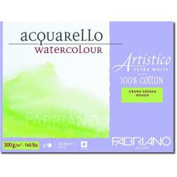 Bloc Papier aquarelle Artistico Extra blanc (23x30,5 cm) - Grain torchon de Fabriano (20 feuilles)