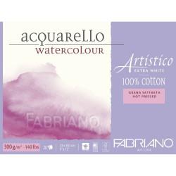 Bloc Papier aquarelle Artistico Extra blanc (23x30,5 cm) - Grain satiné de Fabriano (20 feuilles)