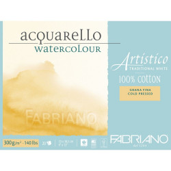 Bloc Papier aquarelle Artistico blanc traditionnel (23x30,5 cm) - Grain fin de Fabriano (20 feuilles)