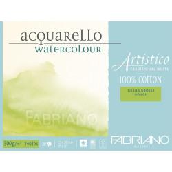 Bloc Papier aquarelle Artistico blanc traditionnel (23x30,5 cm) - Grain torchon de Fabriano (20 feuilles)